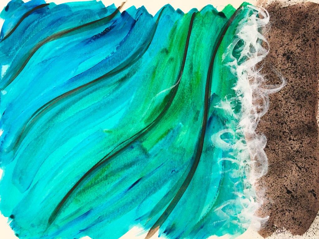 Plage-1, acrylique sur papier aquarelle, 11×15 pouces. ©2019 Geneviève Lamarche. 55$