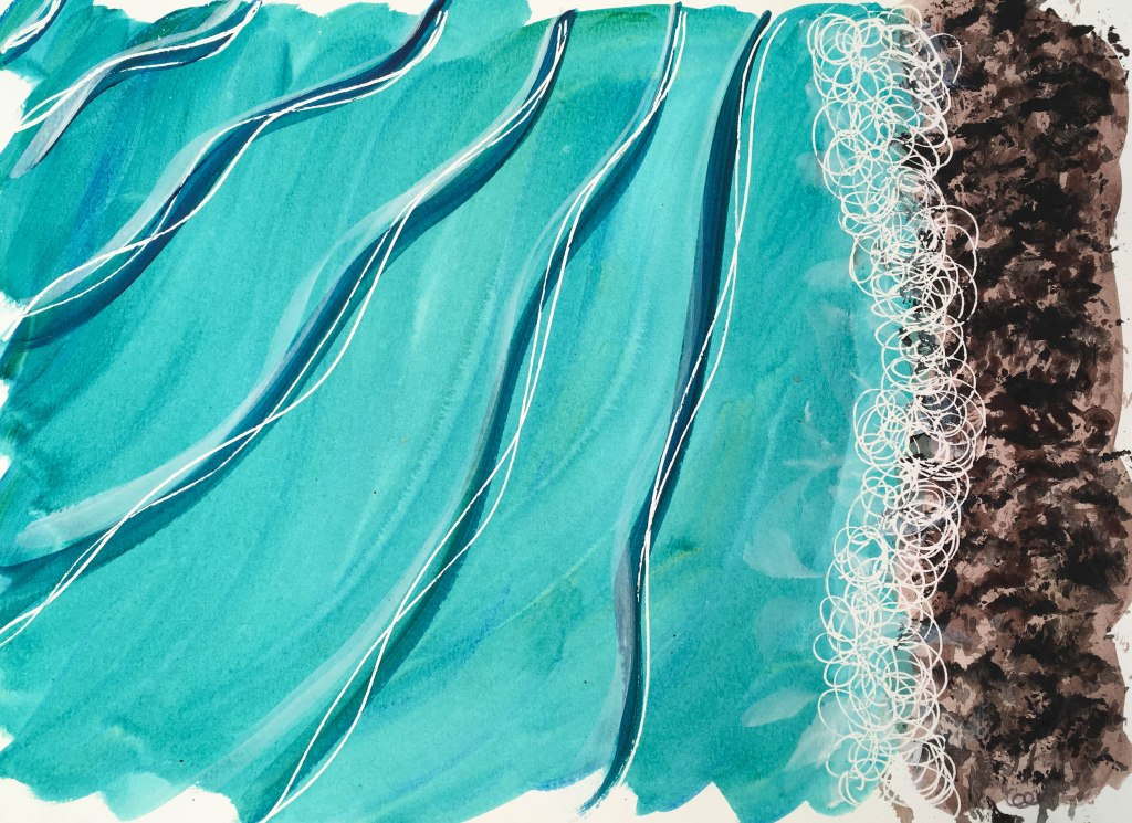 Plage-2, acrylique sur papier aquarelle, 11×15 pouces. ©2019 Geneviève Lamarche. 55$