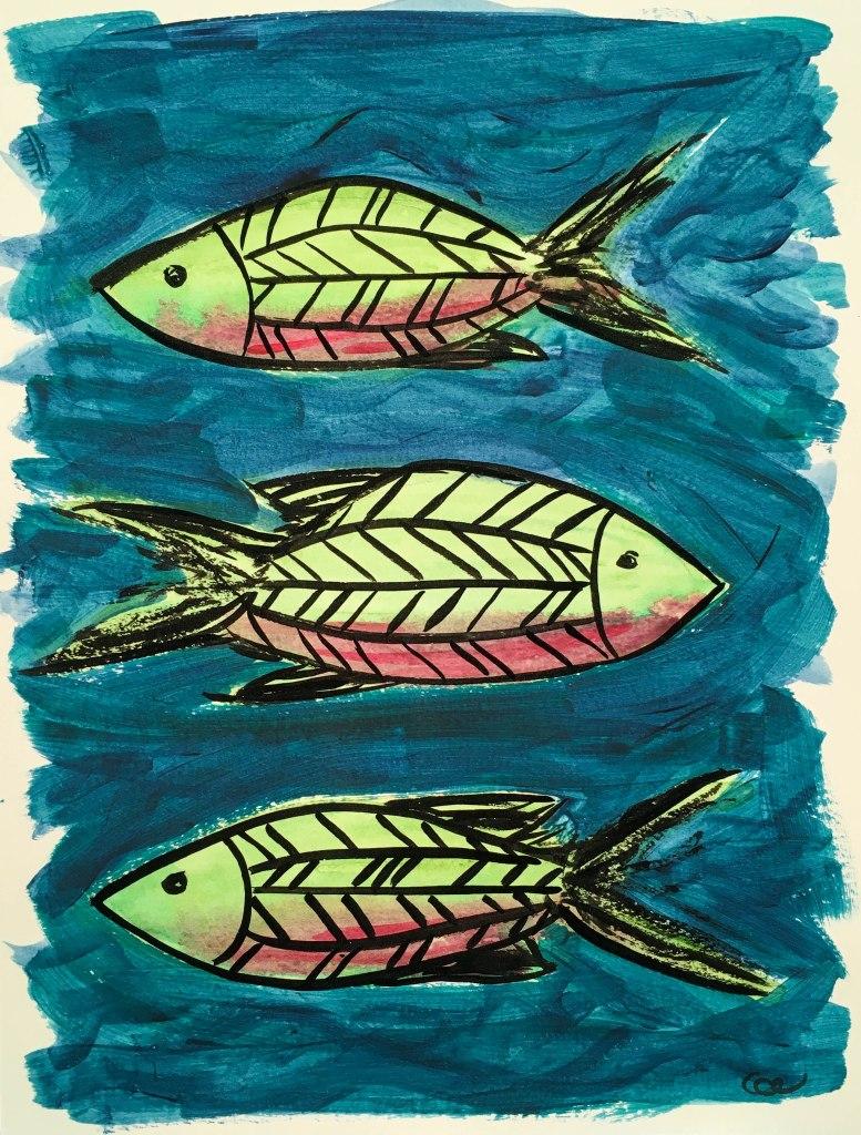 Les poissons-1, acrylique et encre de Chine sur papier aquarelle, 9×12 pouce. ©2019 Geneviève Lamarche.