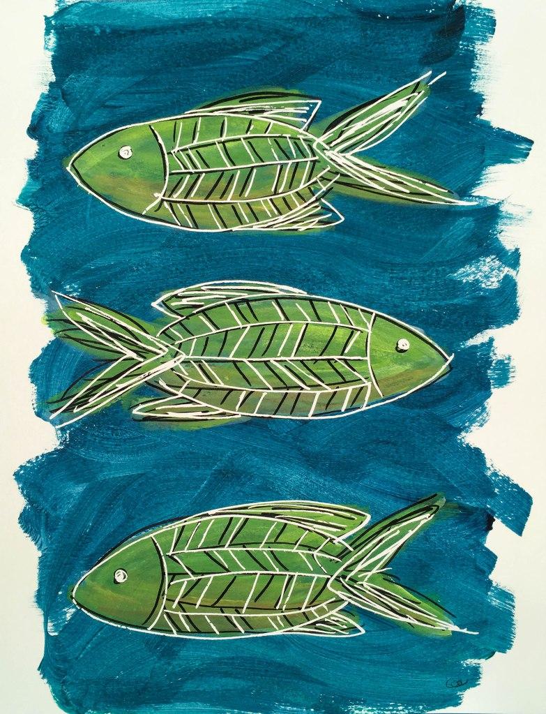 Les poissons-3, acrylique et encre de Chine sur papier aquarelle, 9×12 pouce. ©2019 Geneviève Lamarche.