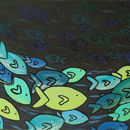 Tourbillons de poissons, acrylique et encre de Chine sur toile, 10x20 pouces. ©2019 Geneviève Lamarche.