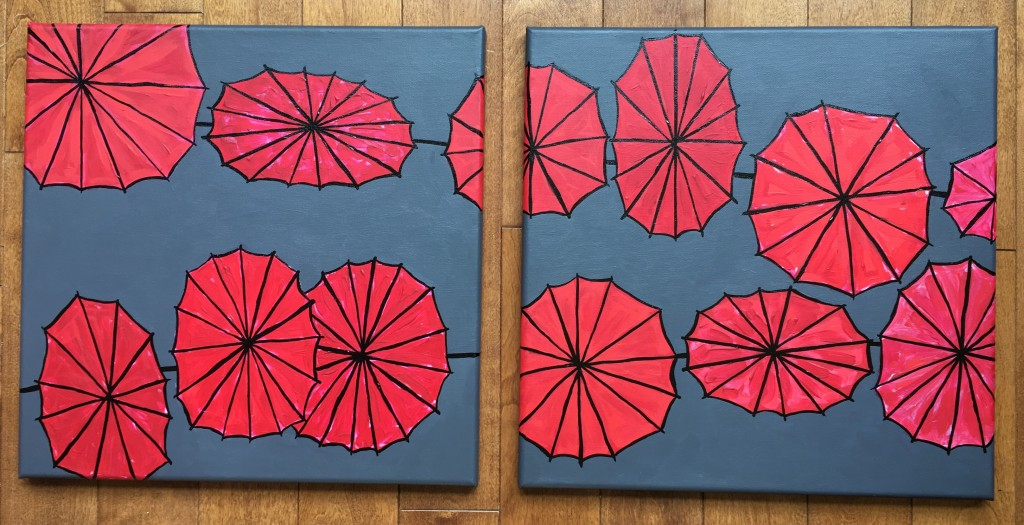Parapluies, acrylique et encre de Chine sur toiles, 16×16 et 16x16 pouces. ©2019 Geneviève Lamarche.