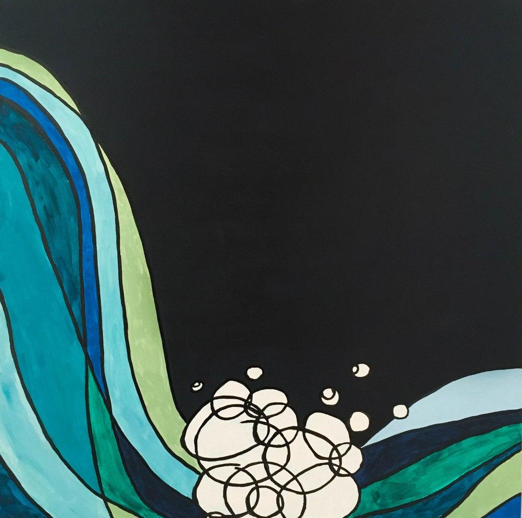 La remontée des poissons (diptyque), acrylique et encre de Chine sur toiles, 20x20 et 20x24 pouces. ©2019 Geneviève Lamarche.