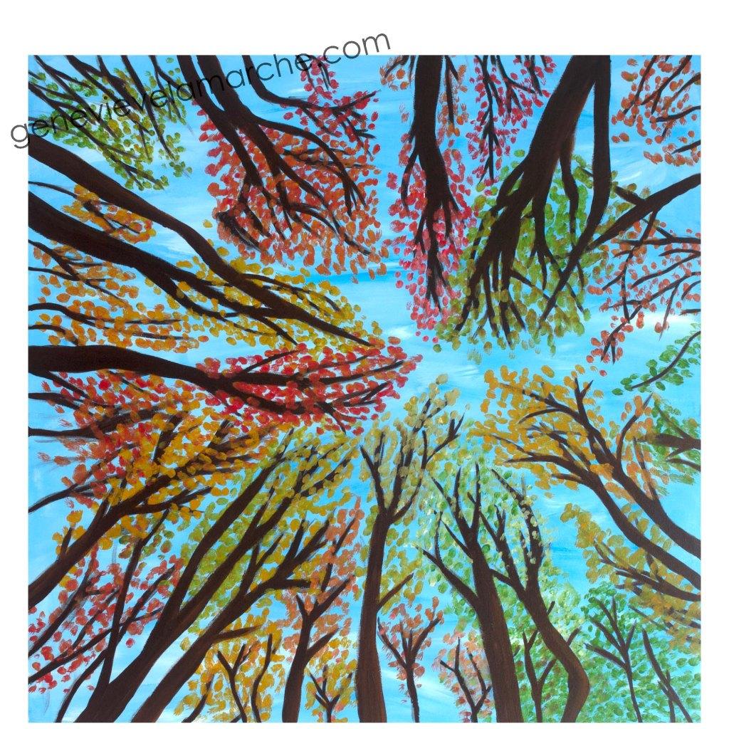 Ciel et forêt, acrylique sur toile, 20x20 pouces. ©2020 Geneviève Lamarche.
